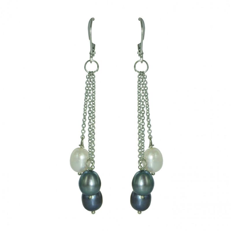 boucle d oreille perle grise noire et blanche perles de philippine. Black Bedroom Furniture Sets. Home Design Ideas