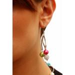 Boucles d'oreilles perles de nacre et shamballas multico