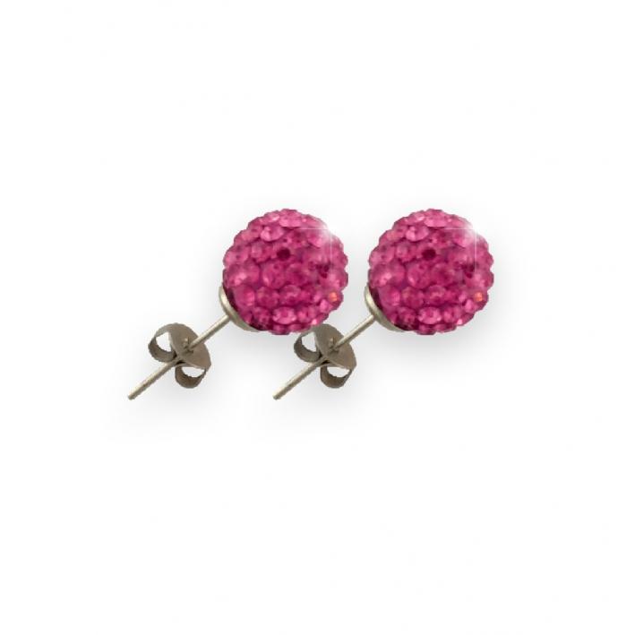 Boucles d'oreilles puce perles shamballa roses