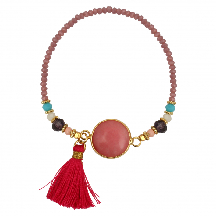 Bracelet cristal pierre rose et pompon framboise