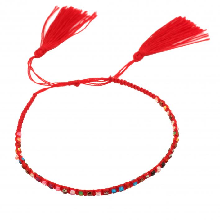 Bracelet perles de rocaille double pompon rouge