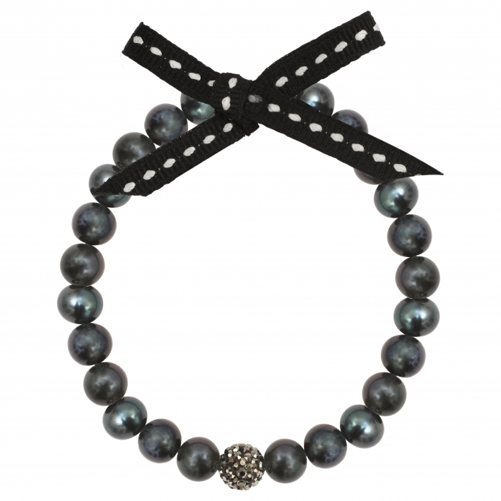 Bracelet Perles de culture et Shamballa noirs
