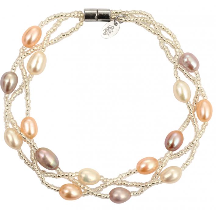 Bracelet 3 rangs perles de culture et rocaille tons pêches