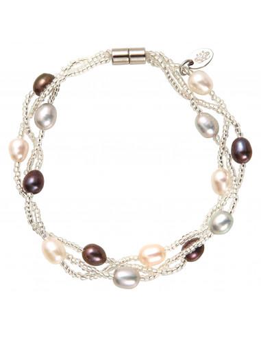 Bracelet en perle de rocaille argenté et perles de culture