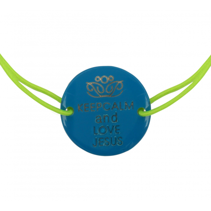 Bracelet nacre bleue gravée Keep Calm and Love Jesus