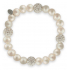 Bracelet élastique perles de culture et shamballa blancs