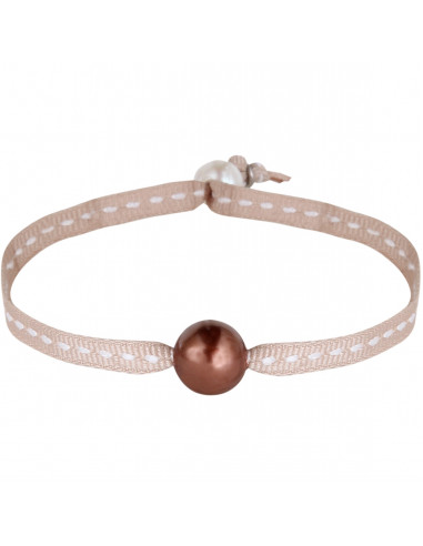 Bracelet une perle de nacre beige sur sellier assorti