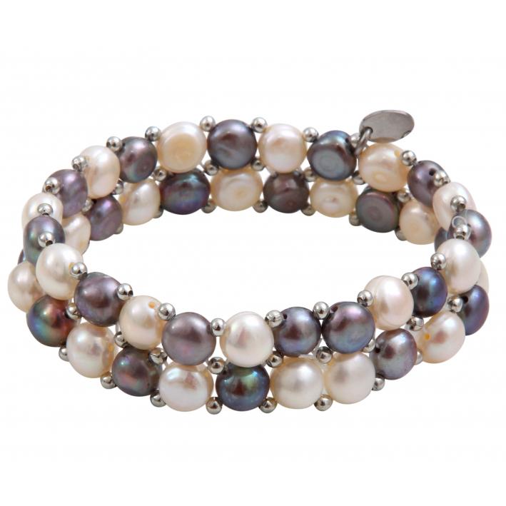 Bracelet élastique 2 rangs perles de culture tons argentés
