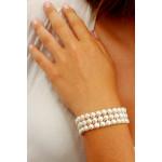 Bracelet Manchette 3 rangs perles de culture blanches
