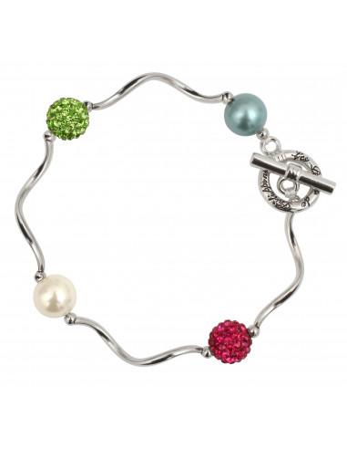 Bracelet perles de nacre et shamballas multicolores