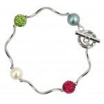 Bracelet perles de nacre et shamballas multico tubes