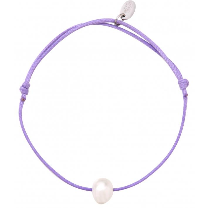 Bracelet ajustable une perle de culture blanche cordon parme