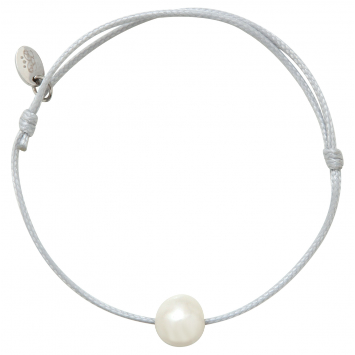 Bracelet ajustable une perle de culture blanche cordon gris