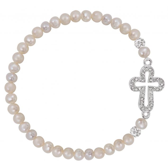 Bracelet perles de culture et croix latine pavage cristal