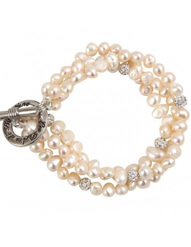 Bracelet Prestige trois rangs de perles de culture et shamballas