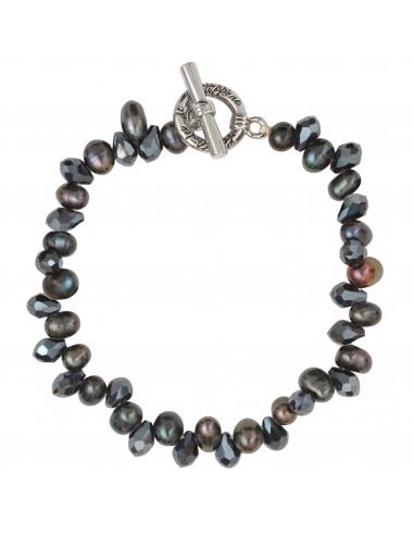 Bracelet perles de culture 'pluie' et cristal noir