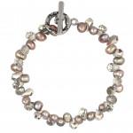 Bracelet perles de culture 'pluie' et cristal argenté