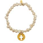 Bracelet perles de cultures et breloque croix plaqué or