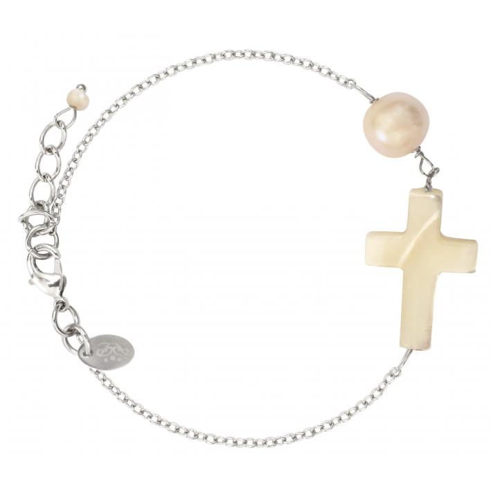 Bracelet croix en nacre et perle de culture sur chaîne