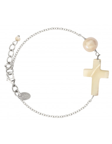 Bracelet élastique croix en nacre et perle de culture sur chaîne