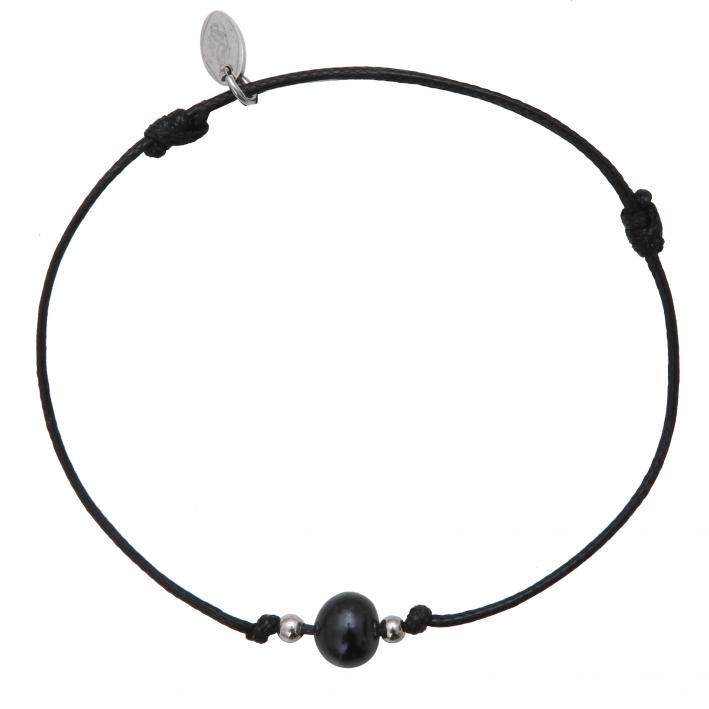 Bracelet une perle de culture noire sur cordon ajustable