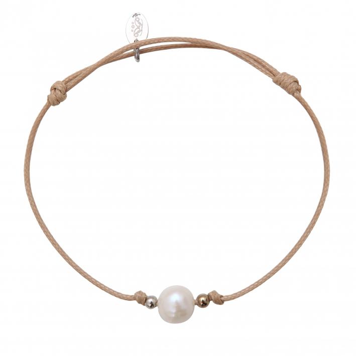 Bracelet une perle de culture blanche sur cordon beige