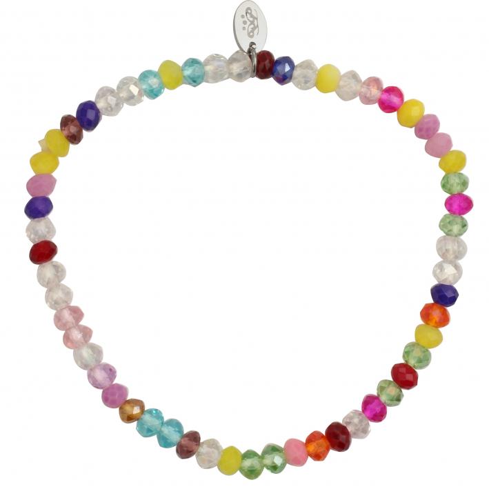 Bracelet élastique perles de cristal multicolores