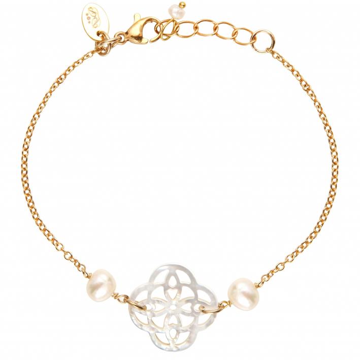 Bracelet filigrane trèfle de nacre blanche sur doré