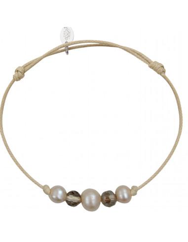 Bracelet perles de culture et de cristal sur cordon beige