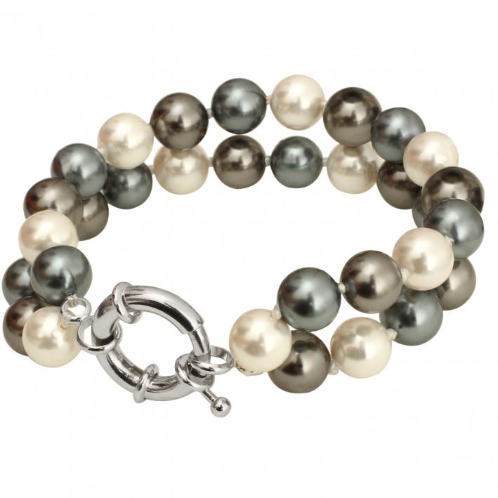 Bracelet 2 rangs de perles de nacre naturelle gris douceur