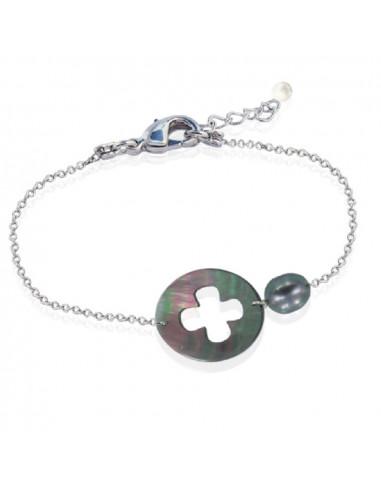 Bracelet trèfle nacre et perle de culture noires