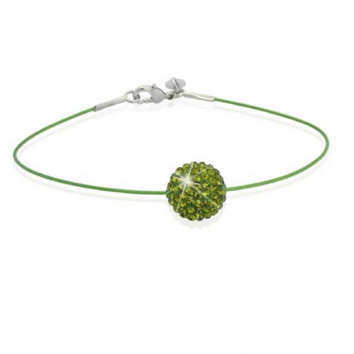 Bracelet Strass Shamballa vert sur cable