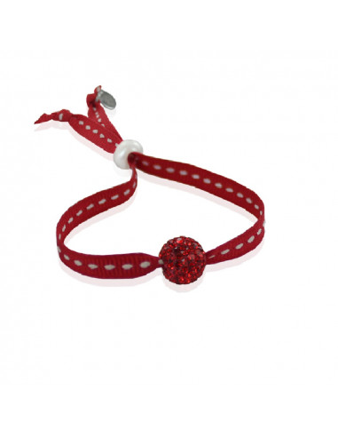 Bracelet ajustable strass shamballa rouge ruban sellier