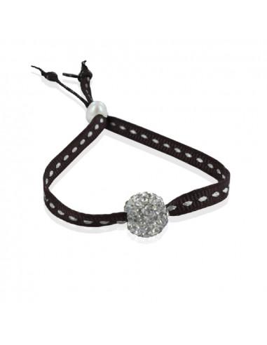 Bracelet ajustable strass shamballa blanc ruban sellier