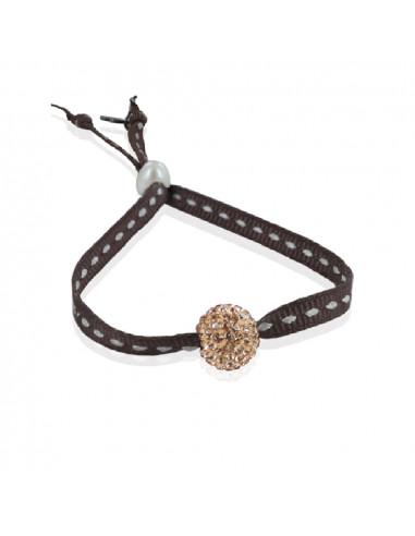 Bracelet ajustable strass shamballa chocolat ruban sellier
