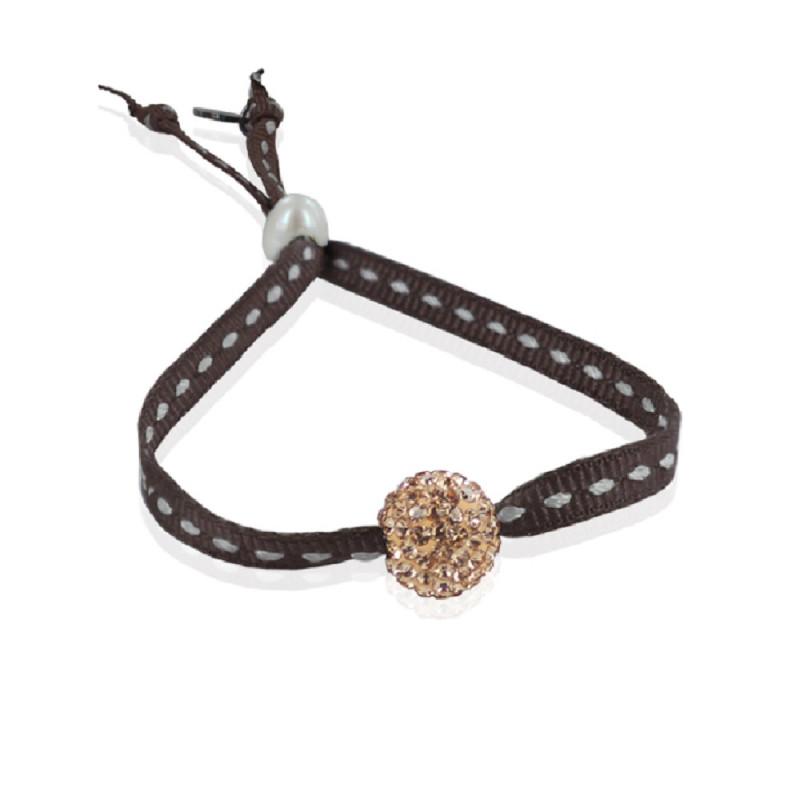 Bracelet strass shamballa chocolat sur ruban sellier - Bracelet perle et ruban ...