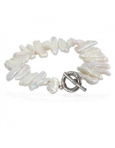 Bracelet perles de culture rares blanches forme biwa