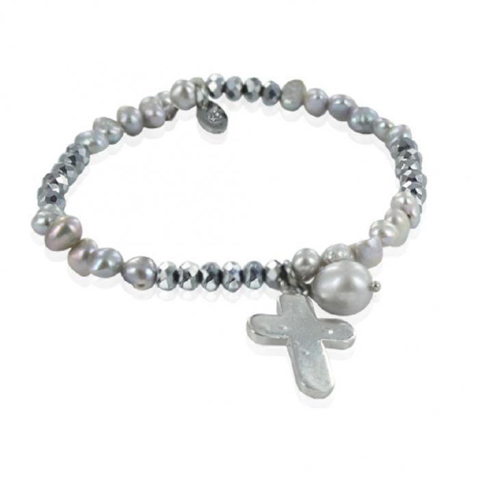 Bracelet élastique perles de culture grises breloque croix