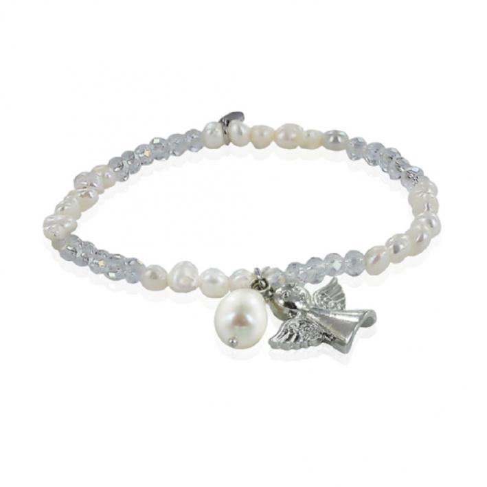 Bracelet élastique perles de culture blanches breloque ange