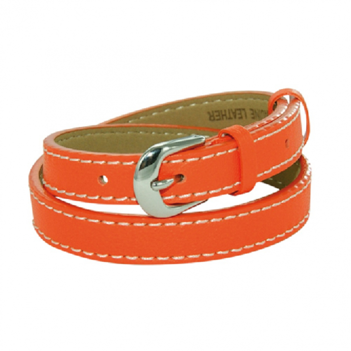 Bracelet double tour cuir sellier orange