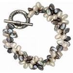 Bracelet perles de culture rares pétales grises et blanches