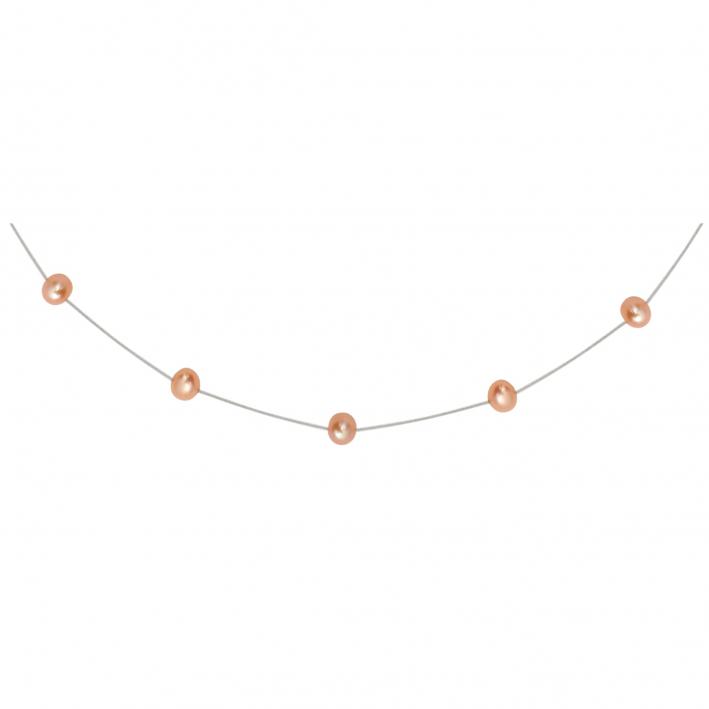 Collier perles de culture pêche sur fil transparent