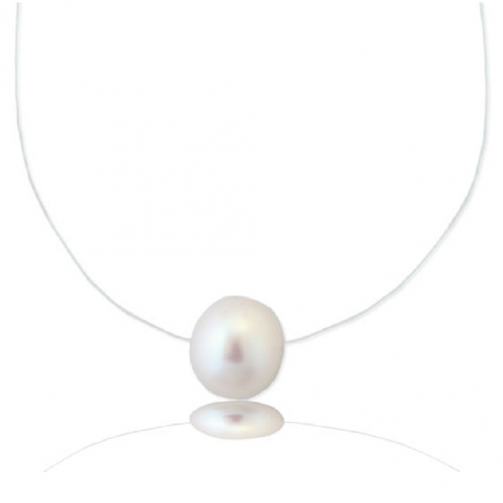 Collier une perle de culture blanche sur fil transparent