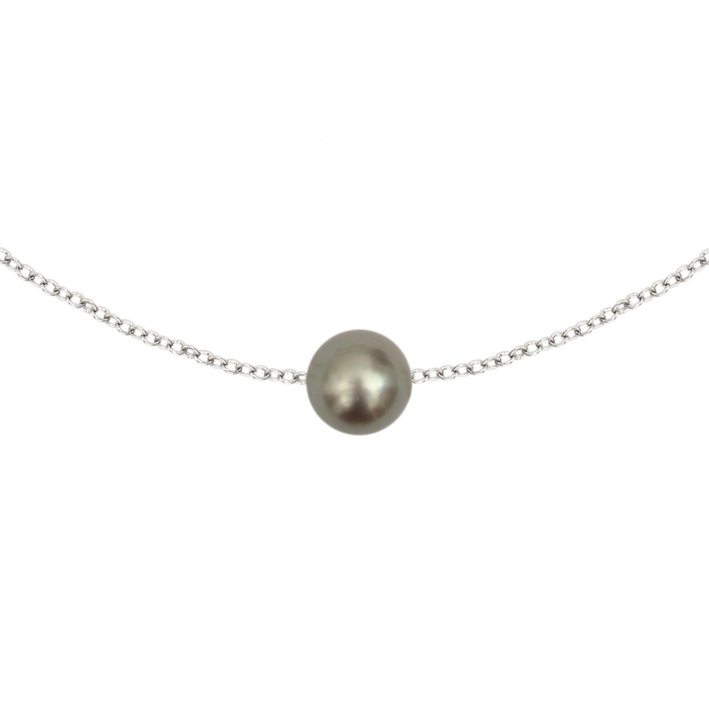 Collier une perle de culture argentée sur chaîne argentée