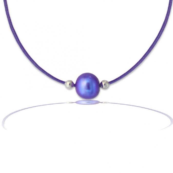 Collier une Perle de culture violette sur cordon assorti