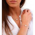 Collier une perle de culture blanche sur cordon parme