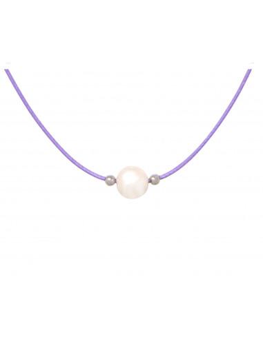 Collier tendance une perle de culture blanche sur cordon parme