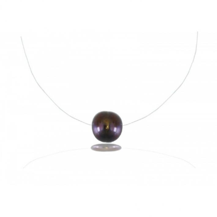Collier une perle de culture noire sur fil transparent