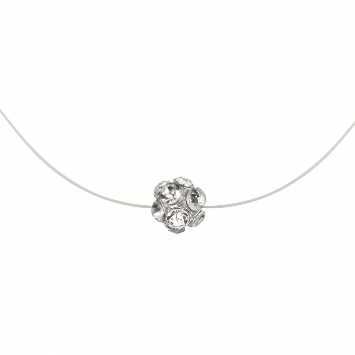 Collier star une perle strass blanche sur fil transparent