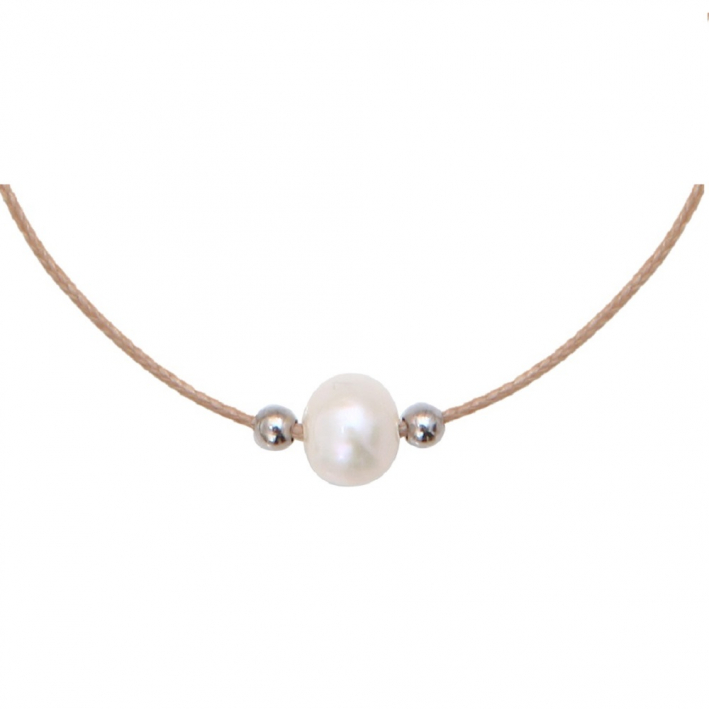 Collier essentiel une perle de culture blanche sur cordon